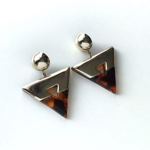 Vintage Tortoise Shell Lucite Triangle Earrings